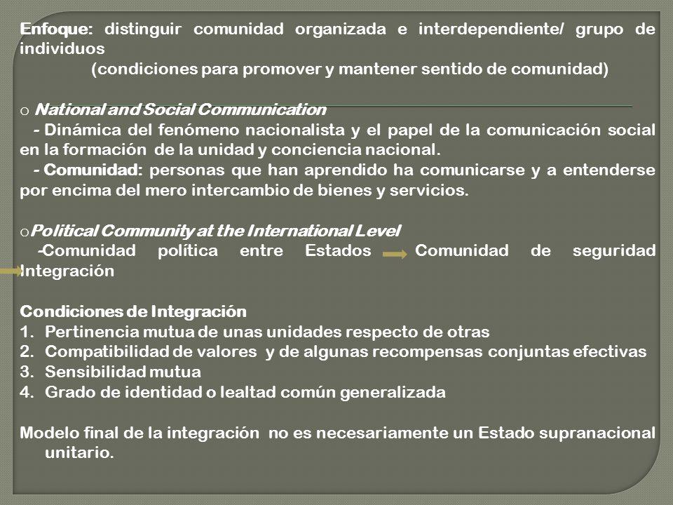 Enfoque: distinguir comunidad organizada e interdependiente/ grupo de individuos (condiciones para promover y mantener sentido de comunidad) o National and Social Communication - Dinámica del fenómeno nacionalista y el papel de la comunicación social en la formación de la unidad y conciencia nacional.