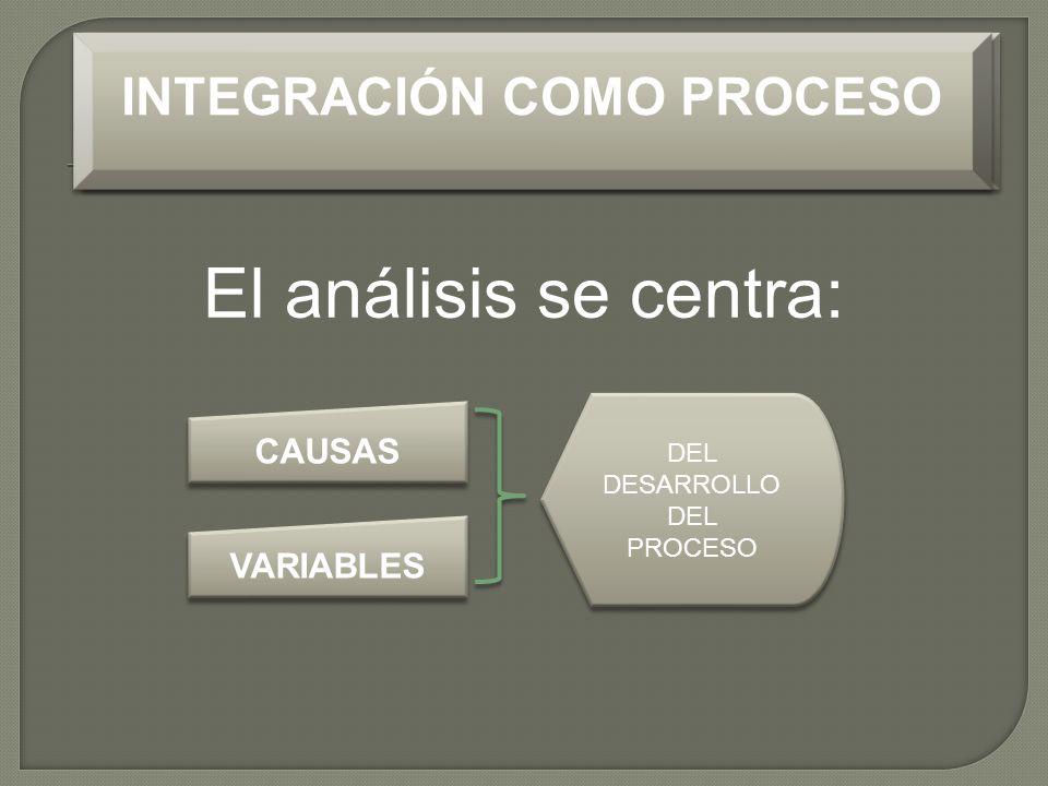El análisis se centra: INTEGRACIÓN COMO PROCESO CAUSAS VARIABLES INTEGRACIÓN COMO PROCESO DEL DESARROLLO DEL PROCESO