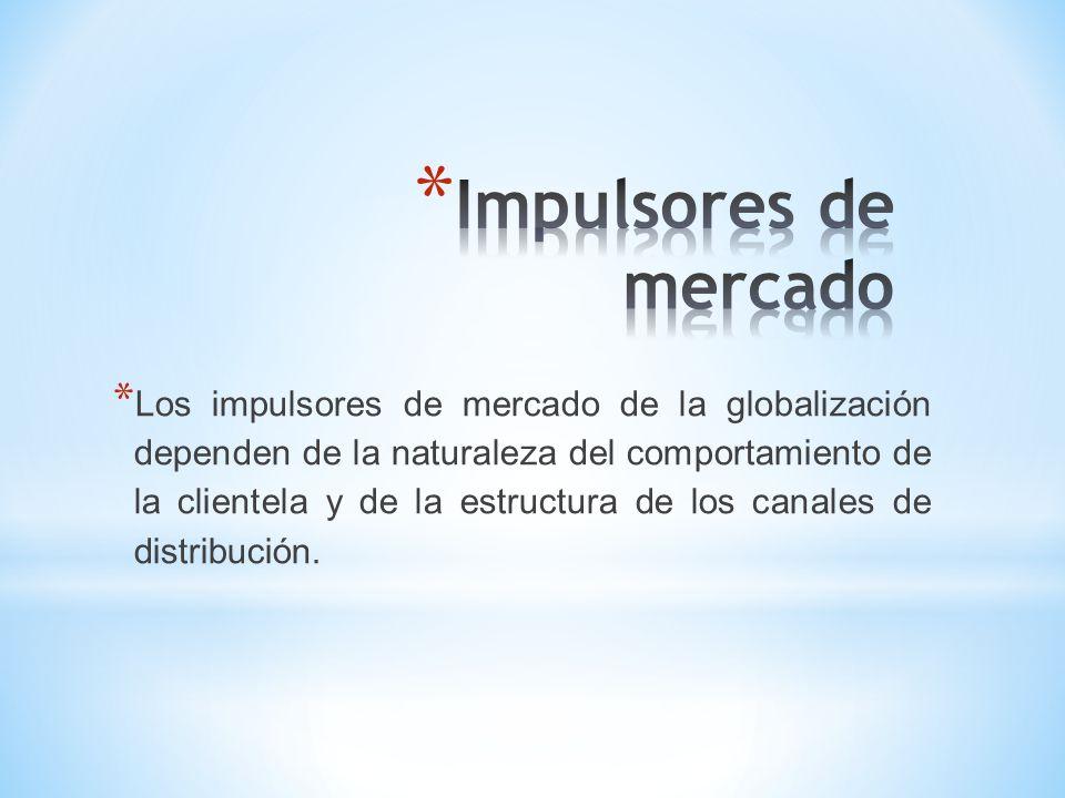 * Estos dependen de la economía del negocio; afectan en particular a la palanca de localización de actividades globales, lo mismo que a las palancas de participación en el mercado global y productos globales.