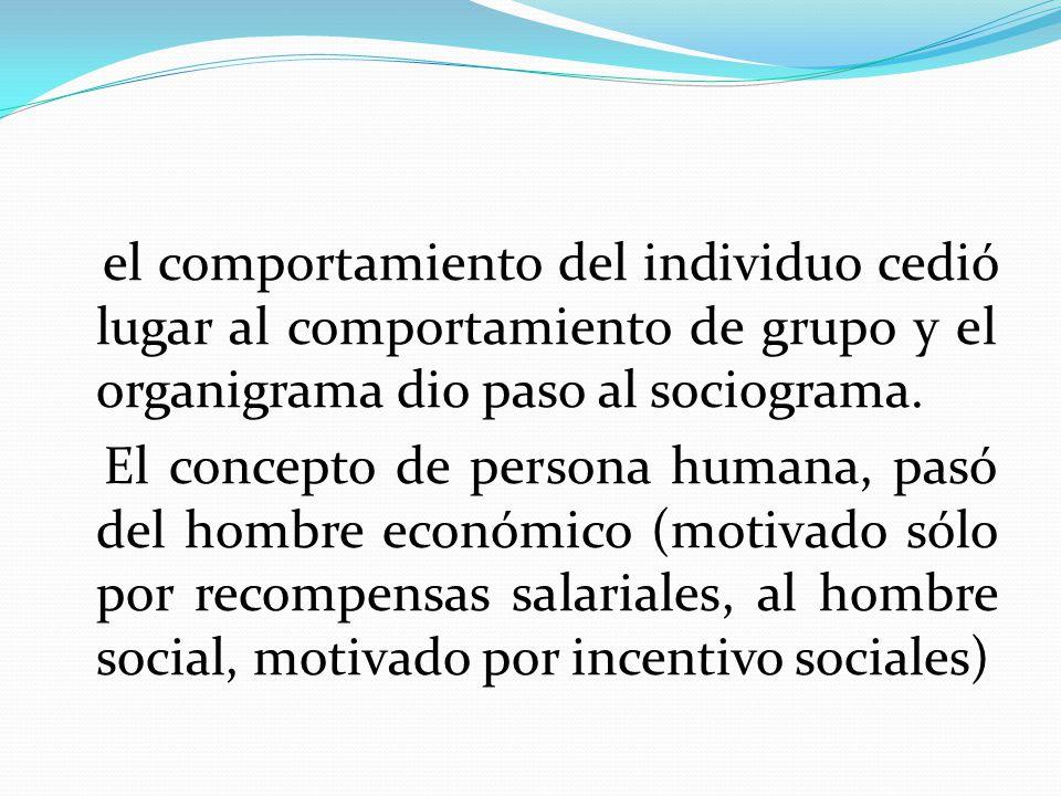 el comportamiento del individuo cedió lugar al comportamiento de grupo y el organigrama dio paso al sociograma. El concepto de persona humana, pasó de