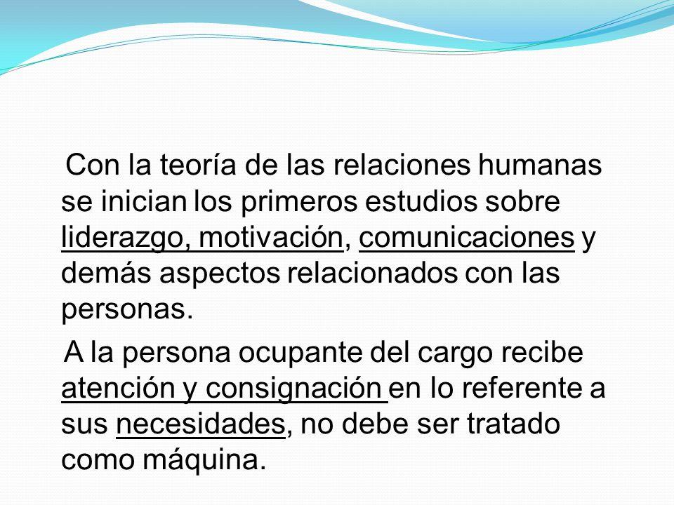 Con la teoría de las relaciones humanas se inician los primeros estudios sobre liderazgo, motivación, comunicaciones y demás aspectos relacionados con