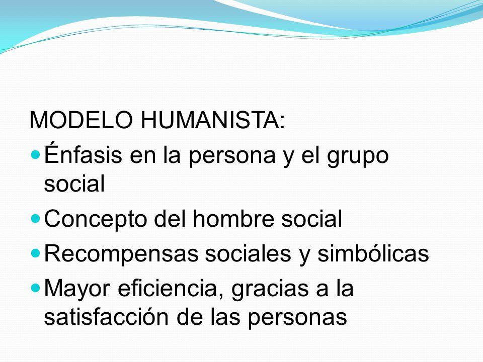 MODELO HUMANISTA: Énfasis en la persona y el grupo social Concepto del hombre social Recompensas sociales y simbólicas Mayor eficiencia, gracias a la