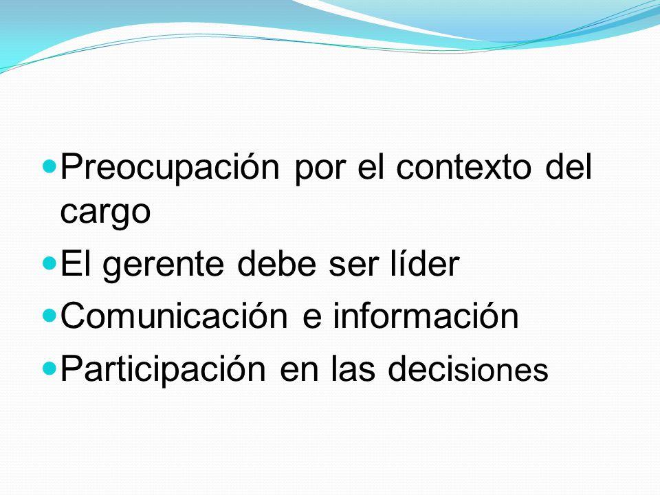 Preocupación por el contexto del cargo El gerente debe ser líder Comunicación e información Participación en las deci siones