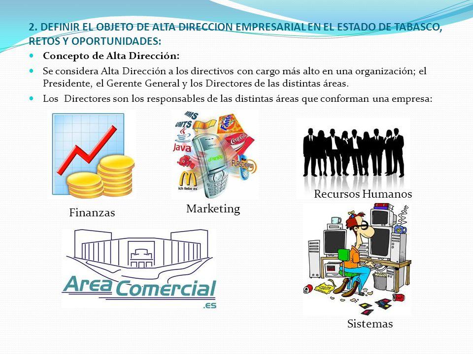 2. DEFINIR EL OBJETO DE ALTA DIRECCION EMPRESARIAL EN EL ESTADO DE TABASCO, RETOS Y OPORTUNIDADES: Concepto de Alta Dirección: Se considera Alta Direc