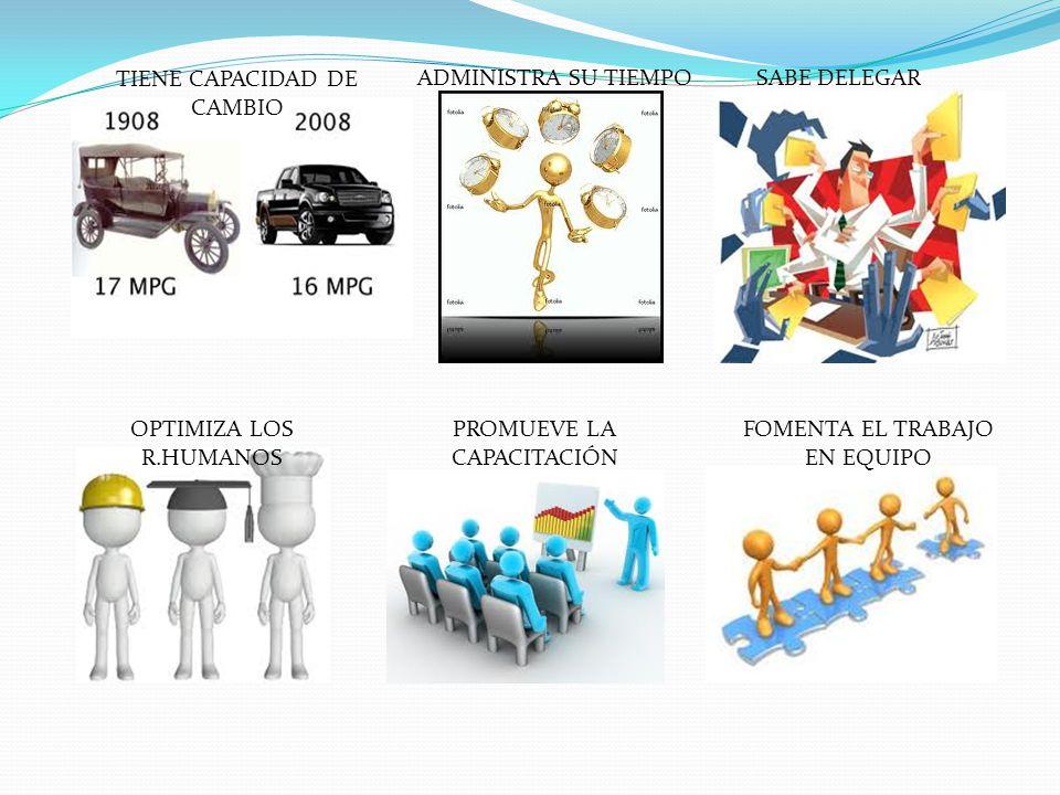 TIENE CAPACIDAD DE CAMBIO ADMINISTRA SU TIEMPOSABE DELEGAR OPTIMIZA LOS R.HUMANOS PROMUEVE LA CAPACITACIÓN FOMENTA EL TRABAJO EN EQUIPO