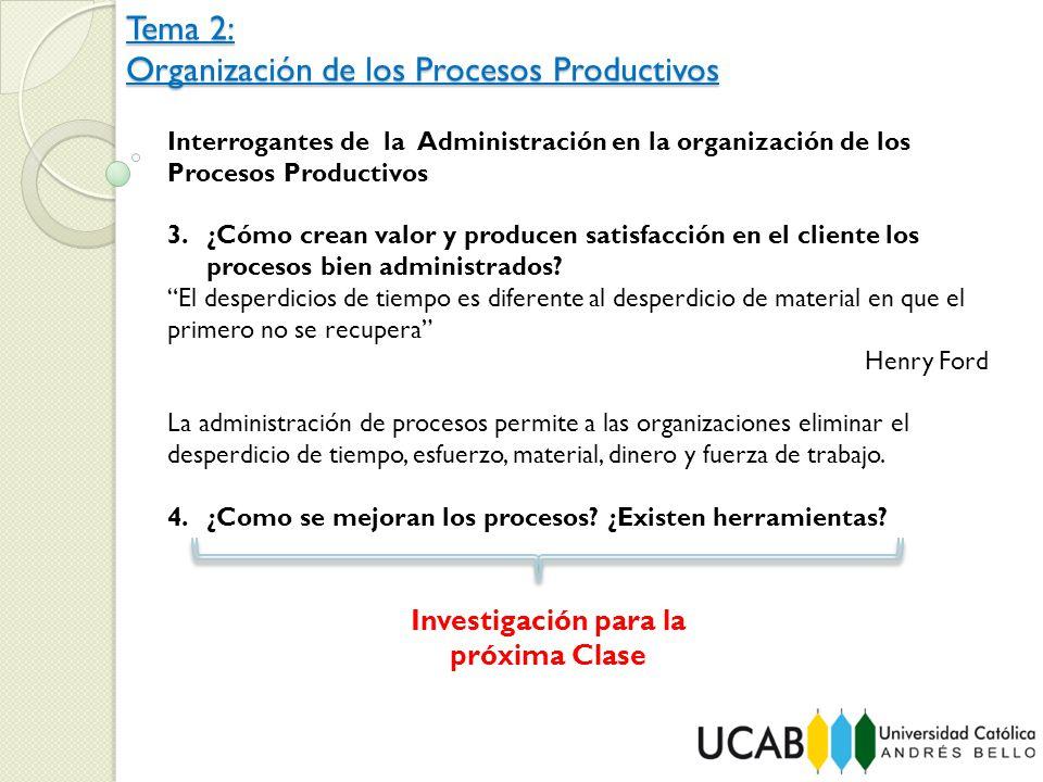 Tema 2: Organización de los Procesos Productivos Interrogantes de la Administración en la organización de los Procesos Productivos 3.¿Cómo crean valor