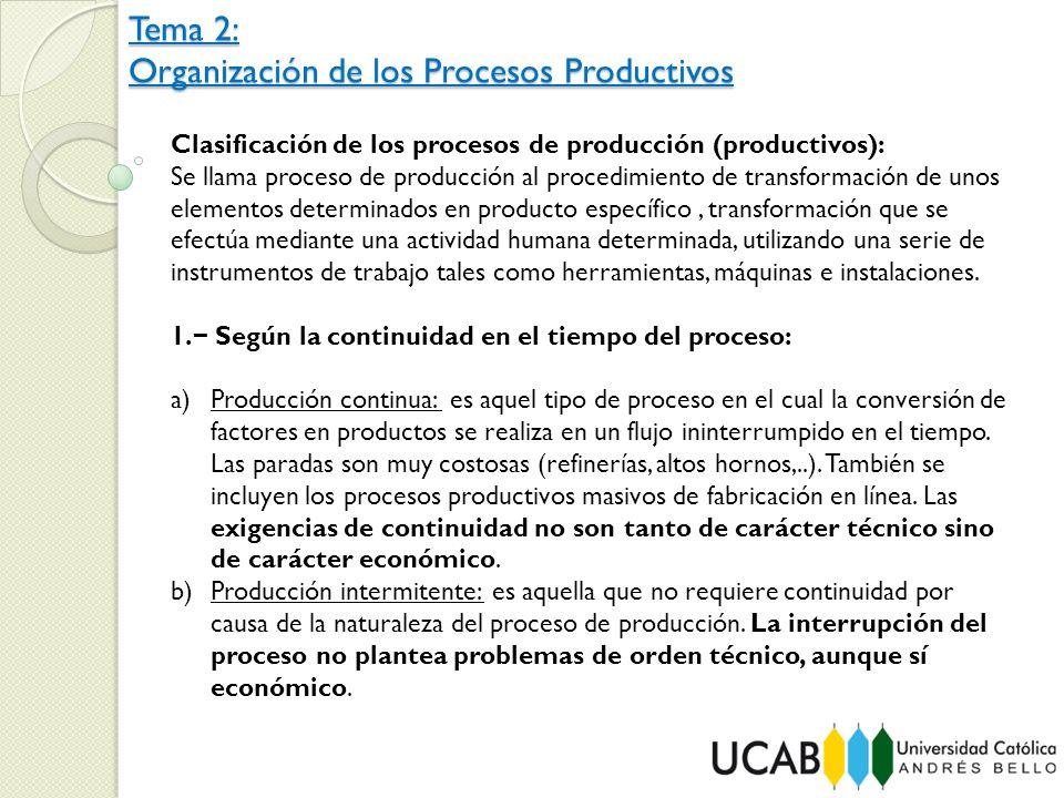 Tema 2: Organización de los Procesos Productivos Clasificación de los procesos de producción (productivos): Se llama proceso de producción al procedim