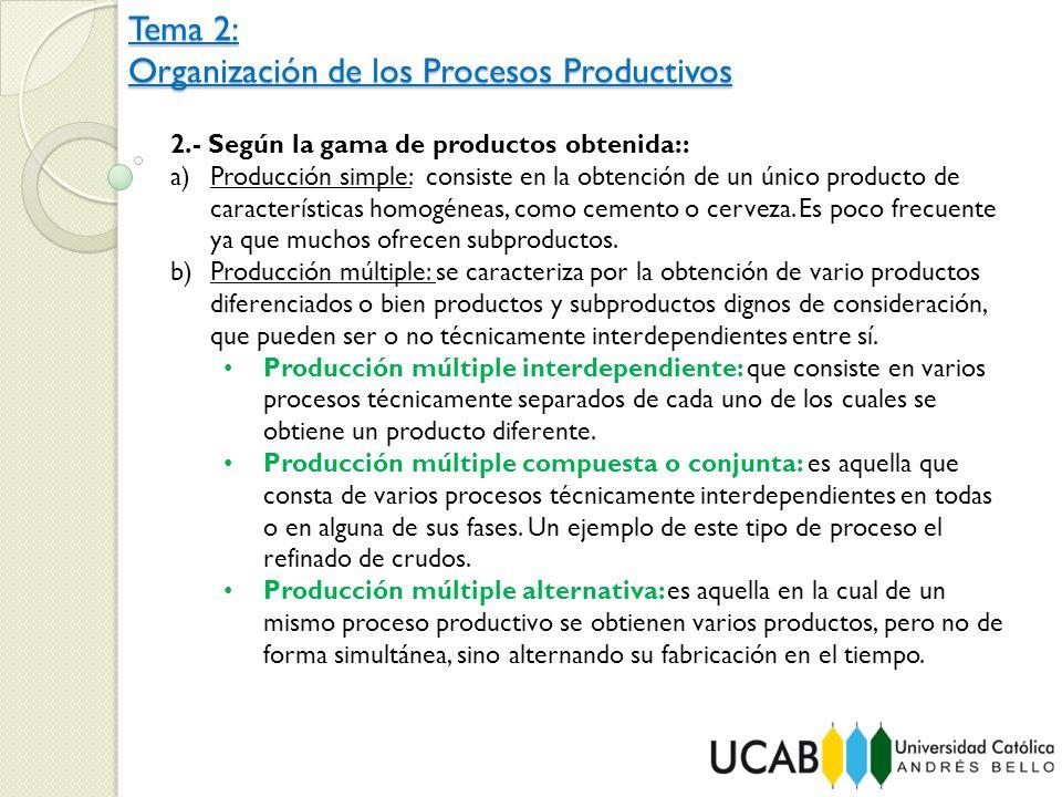 Tema 2: Organización de los Procesos Productivos 2.- Según la gama de productos obtenida:: a)Producción simple: consiste en la obtención de un único p
