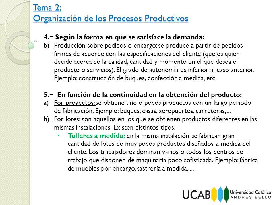 Tema 2: Organización de los Procesos Productivos 4. Según la forma en que se satisface la demanda: b)Producción sobre pedidos o encargo: se produce a