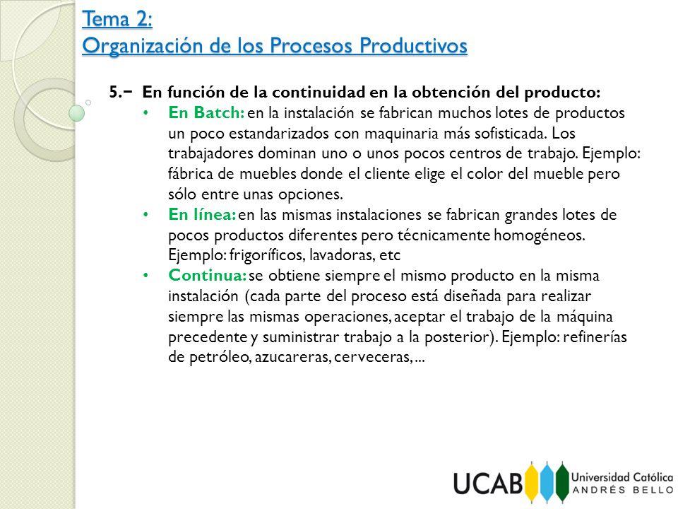 Tema 2: Organización de los Procesos Productivos 5. En función de la continuidad en la obtención del producto: En Batch: en la instalación se fabrican