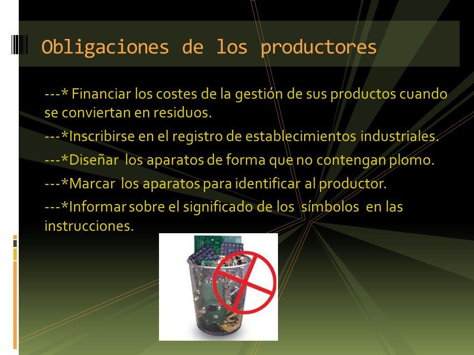 ---* Financiar los costes de la gestión de sus productos cuando se conviertan en residuos. ---*Inscribirse en el registro de establecimientos industri