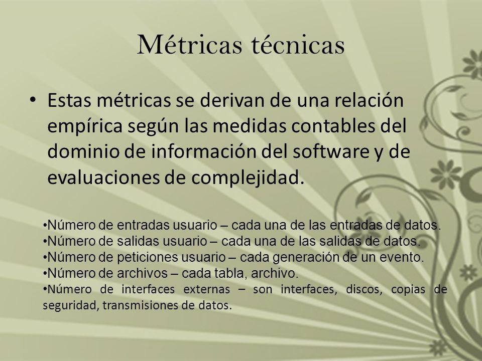 Estas métricas se derivan de una relación empírica según las medidas contables del dominio de información del software y de evaluaciones de complejida