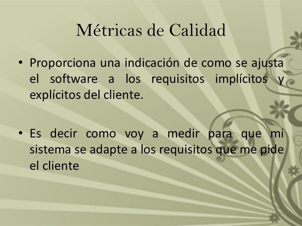 Métricas de Calidad Proporciona una indicación de como se ajusta el software a los requisitos implícitos y explícitos del cliente. Es decir como voy a