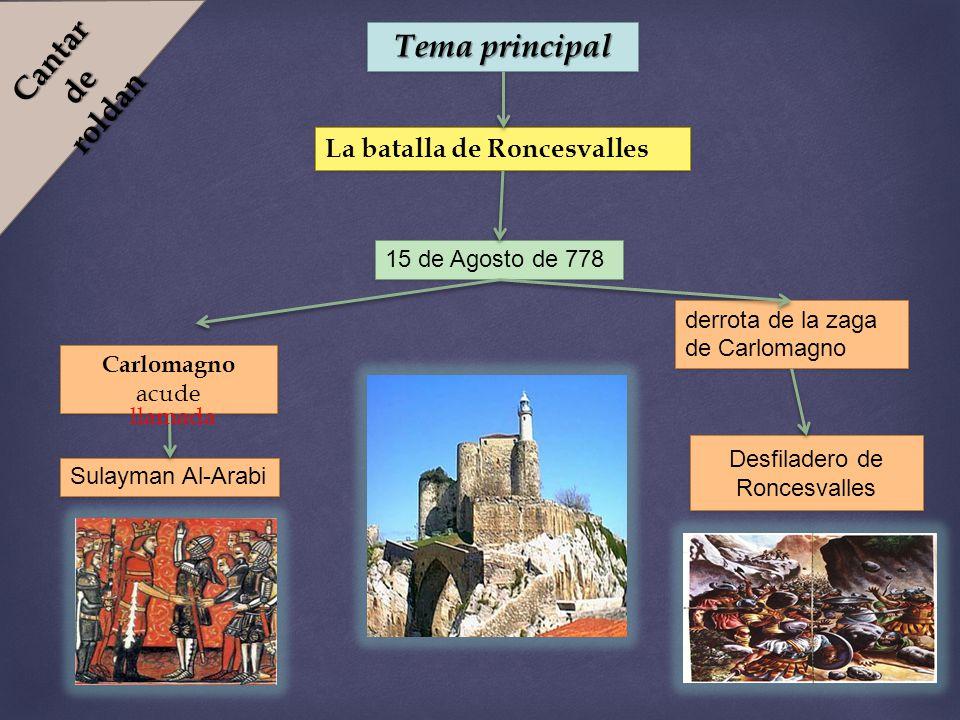 Cantar de roldan Tema principal La batalla de Roncesvalles 15 de Agosto de 778 derrota de la zaga de Carlomagno Desfiladero de Roncesvalles Carlomagno acude Sulayman Al-Arabi llamada