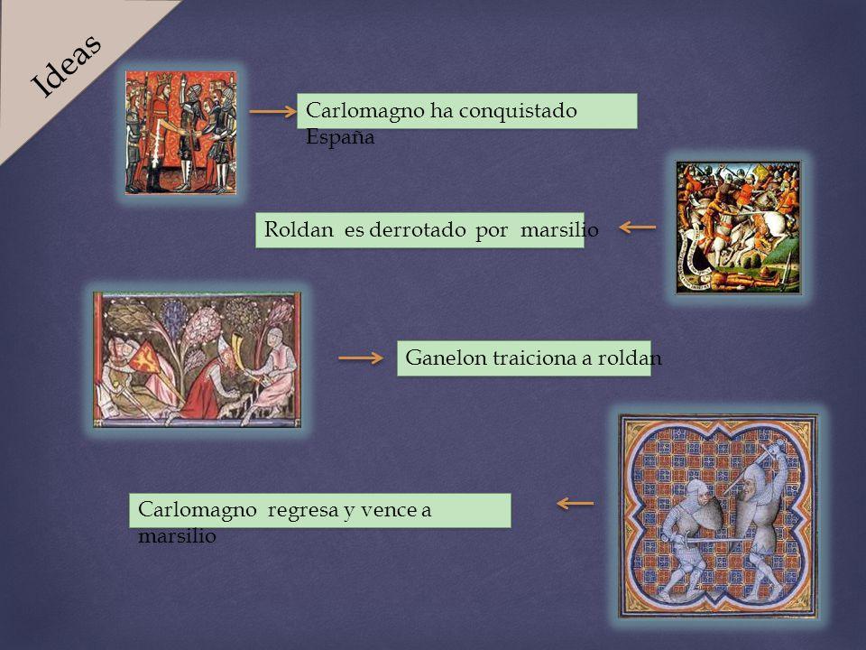 Carlomagno ha conquistado España Roldan es derrotado por marsilio Carlomagno regresa y vence a marsilio Ganelon traiciona a roldan Ideas