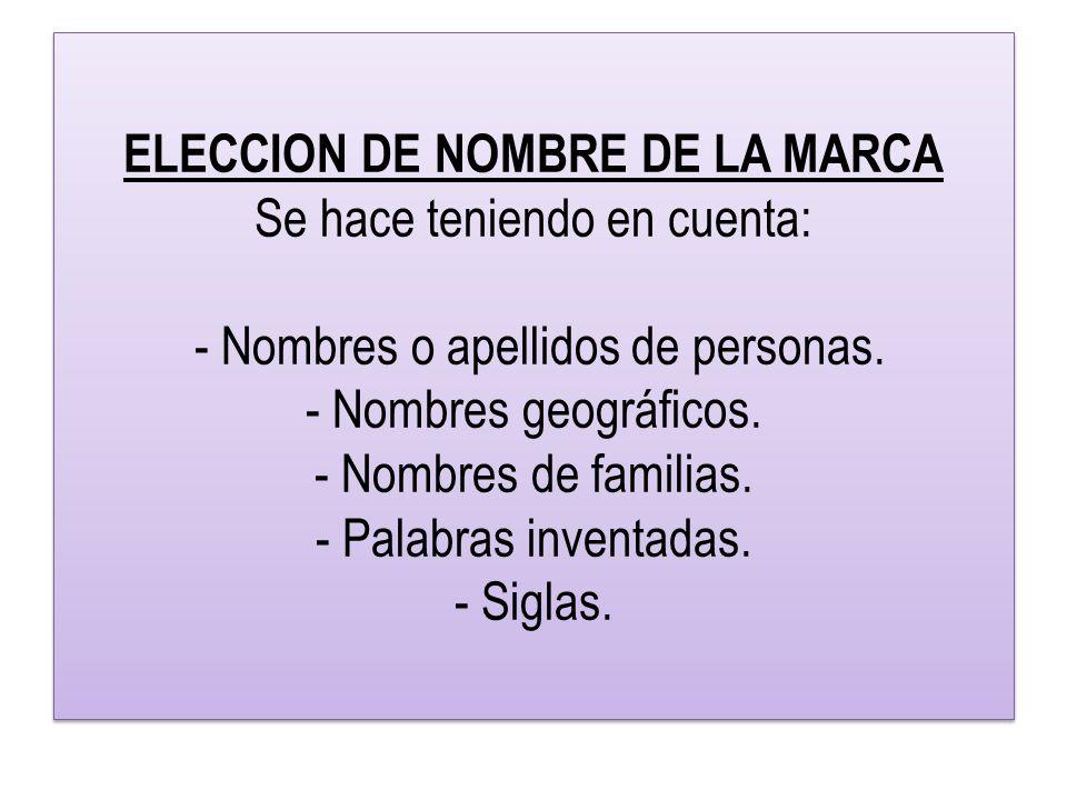 ELECCION DE NOMBRE DE LA MARCA Se hace teniendo en cuenta: - Nombres o apellidos de personas.