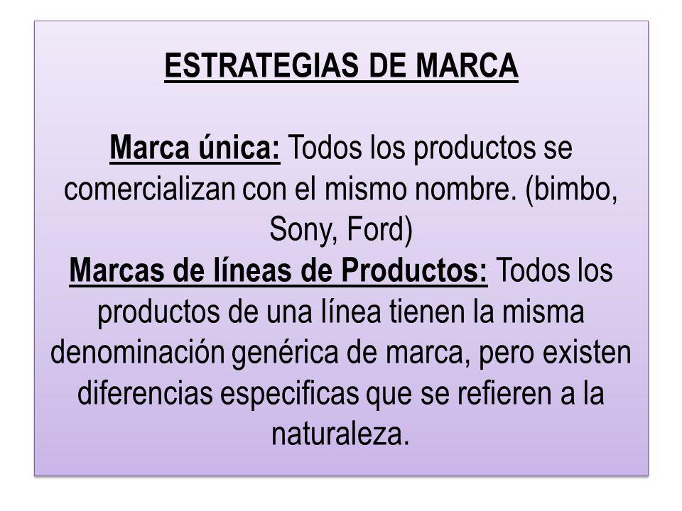 ESTRATEGIAS DE MARCA Marca única: Todos los productos se comercializan con el mismo nombre.