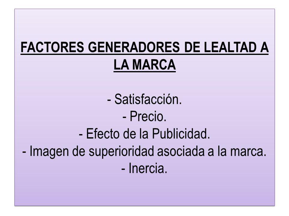 FACTORES GENERADORES DE LEALTAD A LA MARCA - Satisfacción.