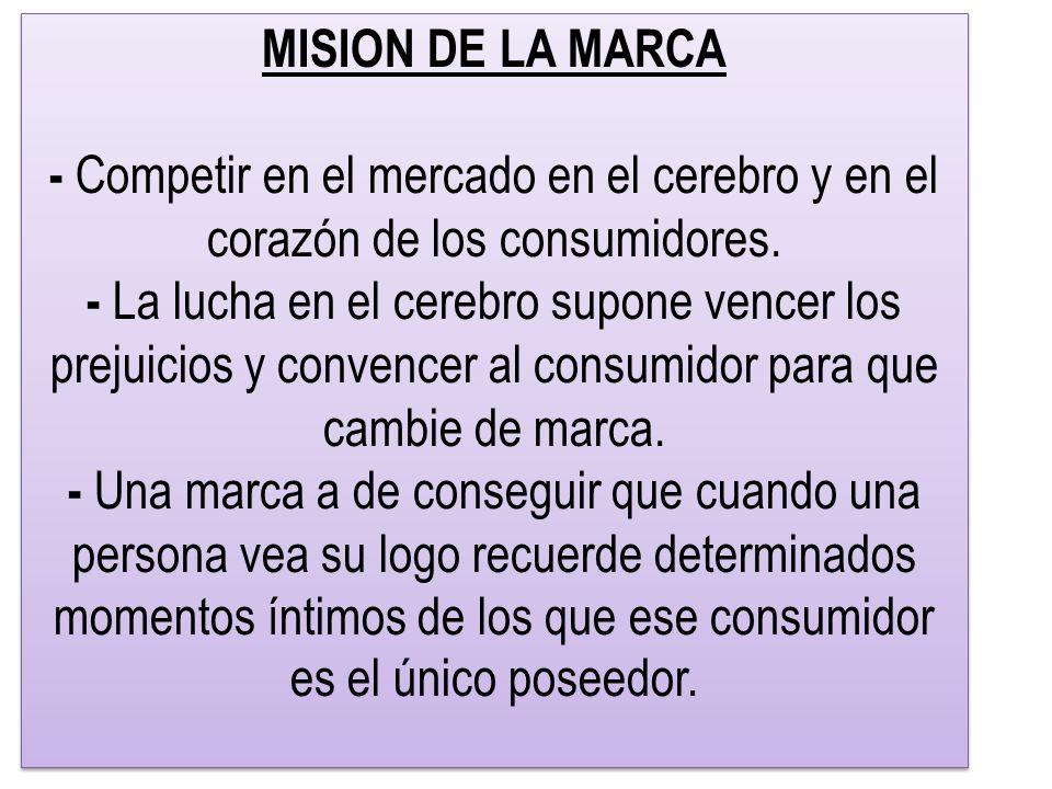 MISION DE LA MARCA - Competir en el mercado en el cerebro y en el corazón de los consumidores.