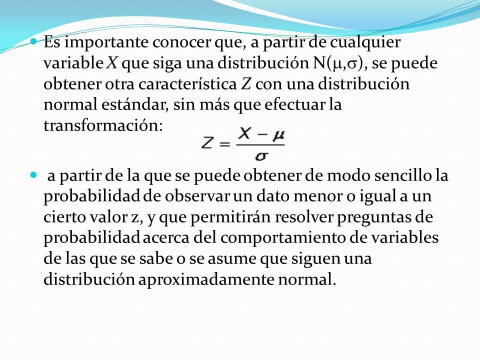 Es importante conocer que, a partir de cualquier variable X que siga una distribución N(, ), se puede obtener otra característica Z con una distribuci