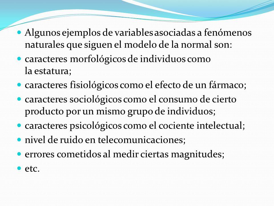 Algunos ejemplos de variables asociadas a fenómenos naturales que siguen el modelo de la normal son: caracteres morfológicos de individuos como la est