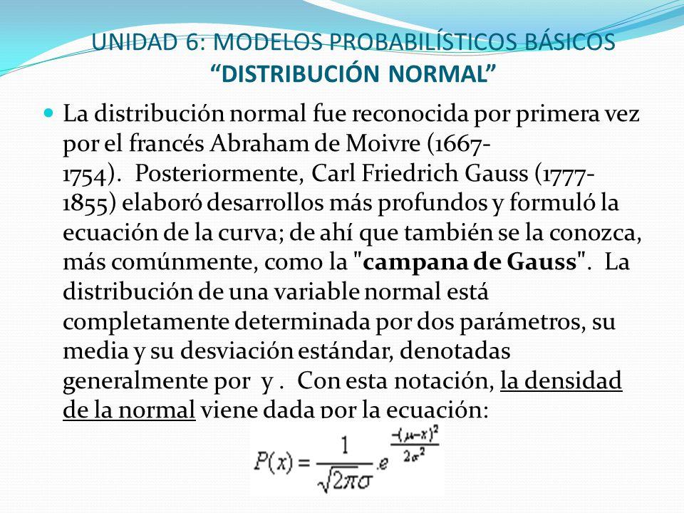 UNIDAD 6: MODELOS PROBABILÍSTICOS BÁSICOS DISTRIBUCIÓN NORMAL La distribución normal fue reconocida por primera vez por el francés Abraham de Moivre (