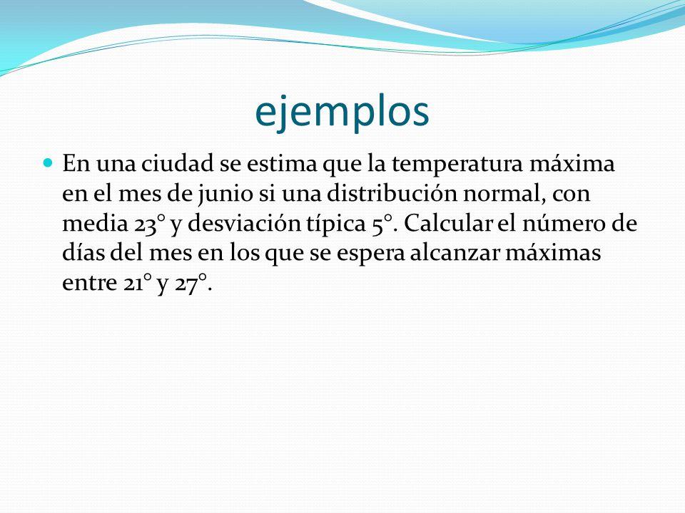 ejemplos En una ciudad se estima que la temperatura máxima en el mes de junio si una distribución normal, con media 23° y desviación típica 5°. Calcul