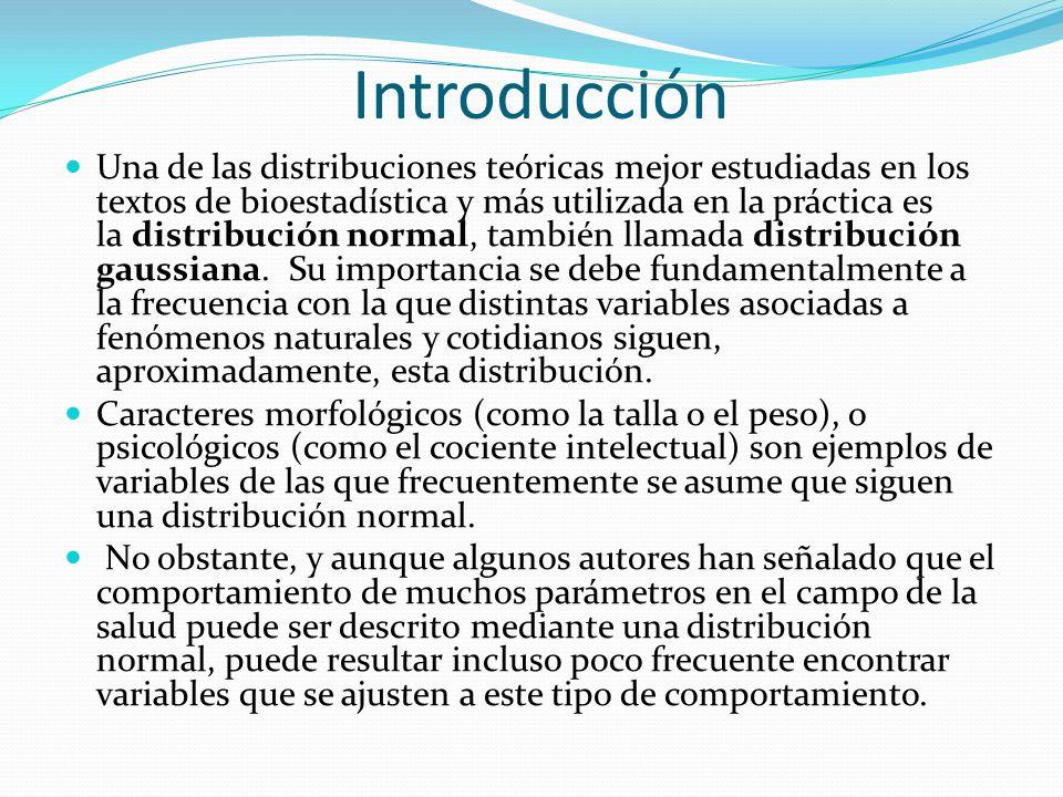 Introducción Una de las distribuciones teóricas mejor estudiadas en los textos de bioestadística y más utilizada en la práctica es la distribución nor