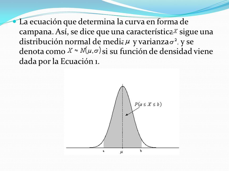 La ecuación que determina la curva en forma de campana. Así, se dice que una característica sigue una distribución normal de media y varianza, y se de
