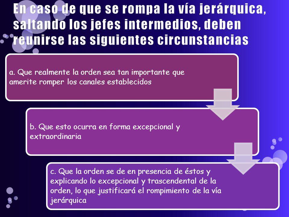 En caso de que se rompa la vía jerárquica, saltando los jefes intermedios, deben reunirse las siguientes circunstancias a.