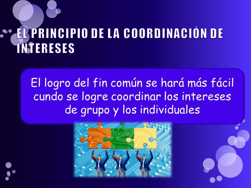 El logro del fin común se hará más fácil cundo se logre coordinar los intereses de grupo y los individuales