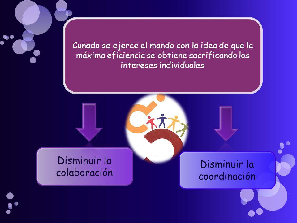 Cunado se ejerce el mando con la idea de que la máxima eficiencia se obtiene sacrificando los intereses individuales Disminuir la colaboración Disminuir la coordinación