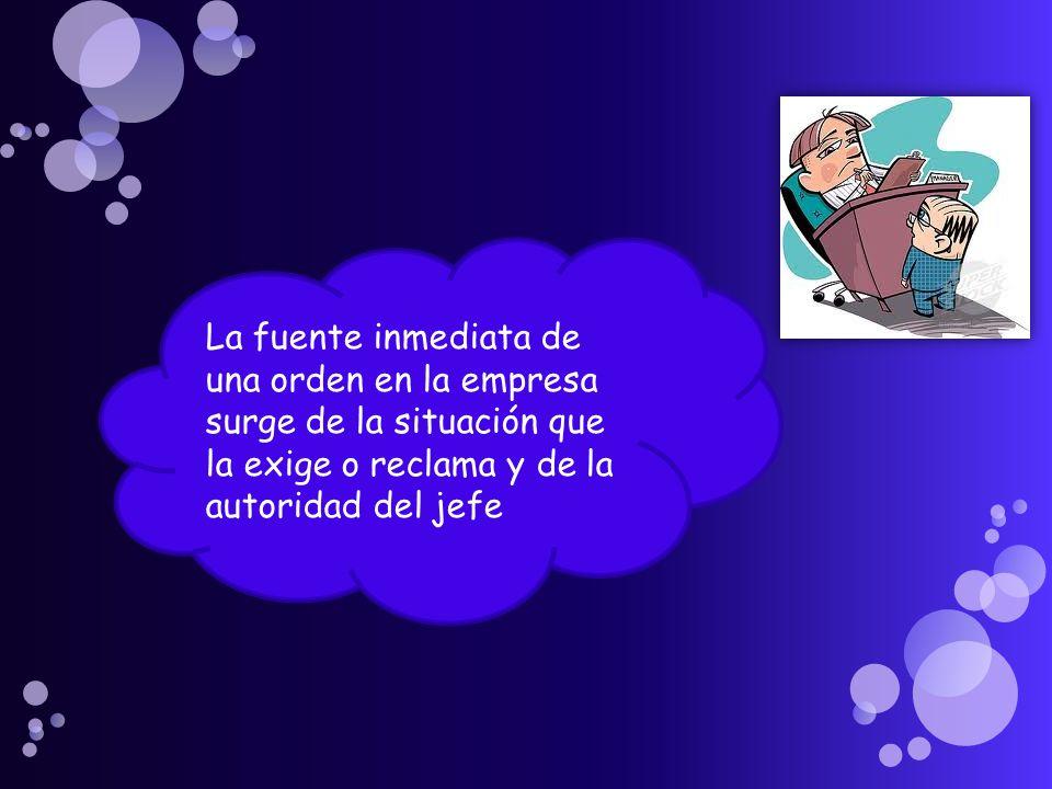 La fuente inmediata de una orden en la empresa surge de la situación que la exige o reclama y de la autoridad del jefe