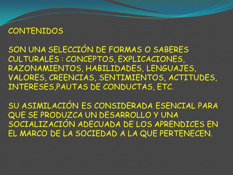 CONTENIDOS SON UNA SELECCIÓN DE FORMAS O SABERES CULTURALES : CONCEPTOS, EXPLICACIONES, RAZONAMIENTOS, HABILIDADES, LENGUAJES, VALORES, CREENCIAS, SEN
