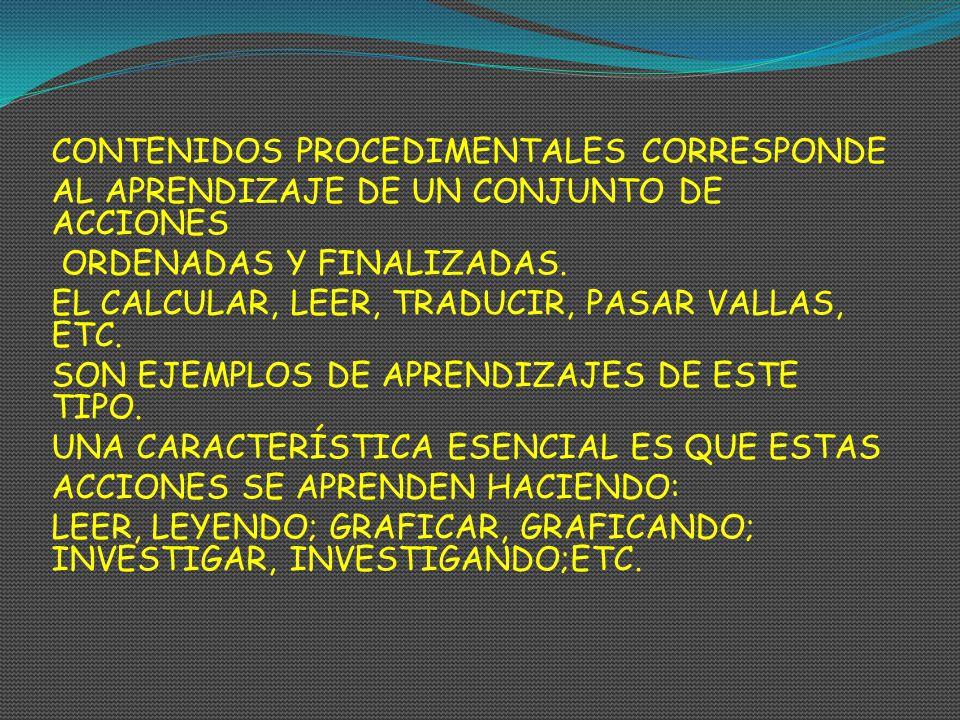 CONTENIDOS PROCEDIMENTALES CORRESPONDE AL APRENDIZAJE DE UN CONJUNTO DE ACCIONES ORDENADAS Y FINALIZADAS. EL CALCULAR, LEER, TRADUCIR, PASAR VALLAS, E