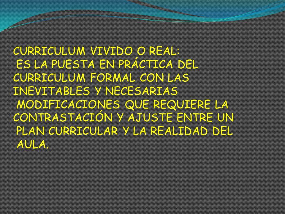 CURRICULUM VIVIDO O REAL: ES LA PUESTA EN PRÁCTICA DEL CURRICULUM FORMAL CON LAS INEVITABLES Y NECESARIAS MODIFICACIONES QUE REQUIERE LA CONTRASTACIÓN