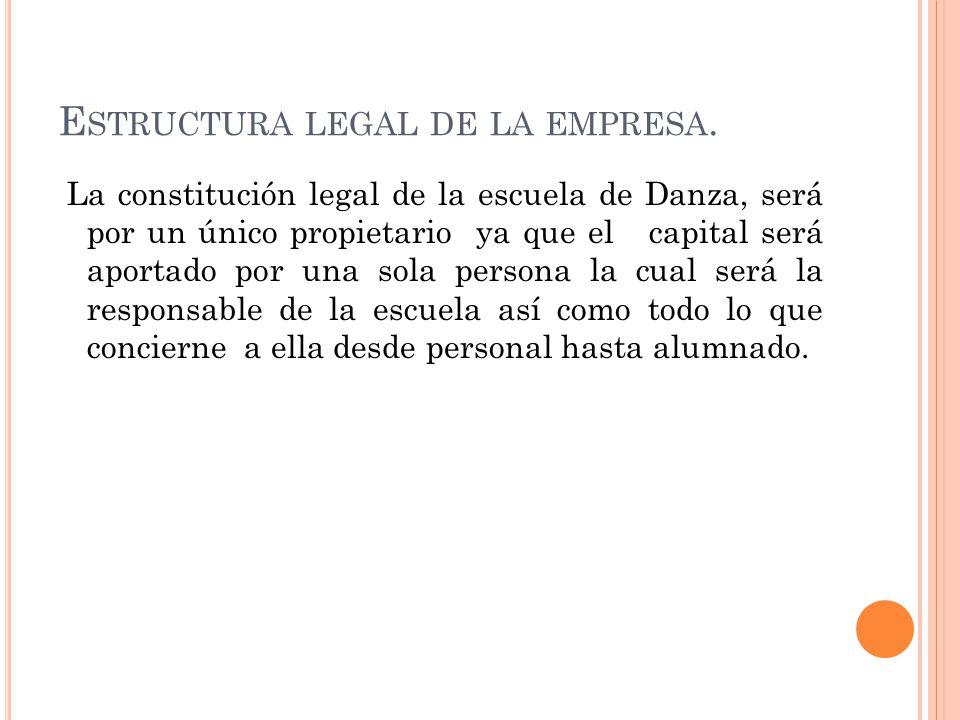 E STRUCTURA LEGAL DE LA EMPRESA. La constitución legal de la escuela de Danza, será por un único propietario ya que el capital será aportado por una s