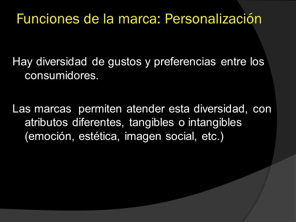 Funciones de la marca: Personalización Hay diversidad de gustos y preferencias entre los consumidores. Las marcas permiten atender esta diversidad, co