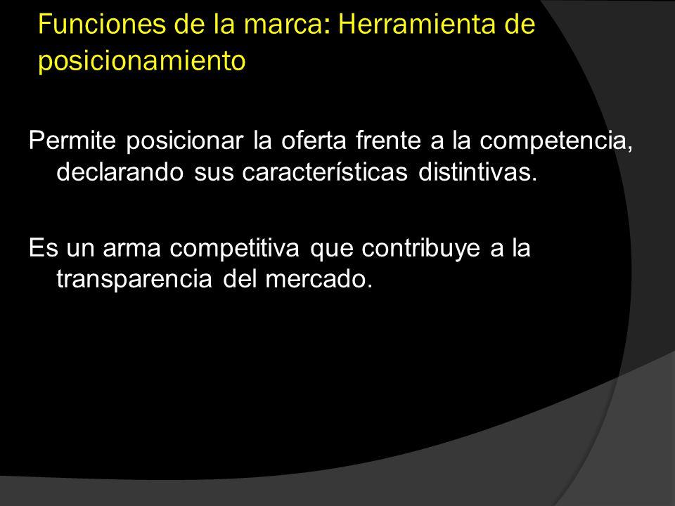 Funciones de la marca: Herramienta de posicionamiento Permite posicionar la oferta frente a la competencia, declarando sus características distintivas
