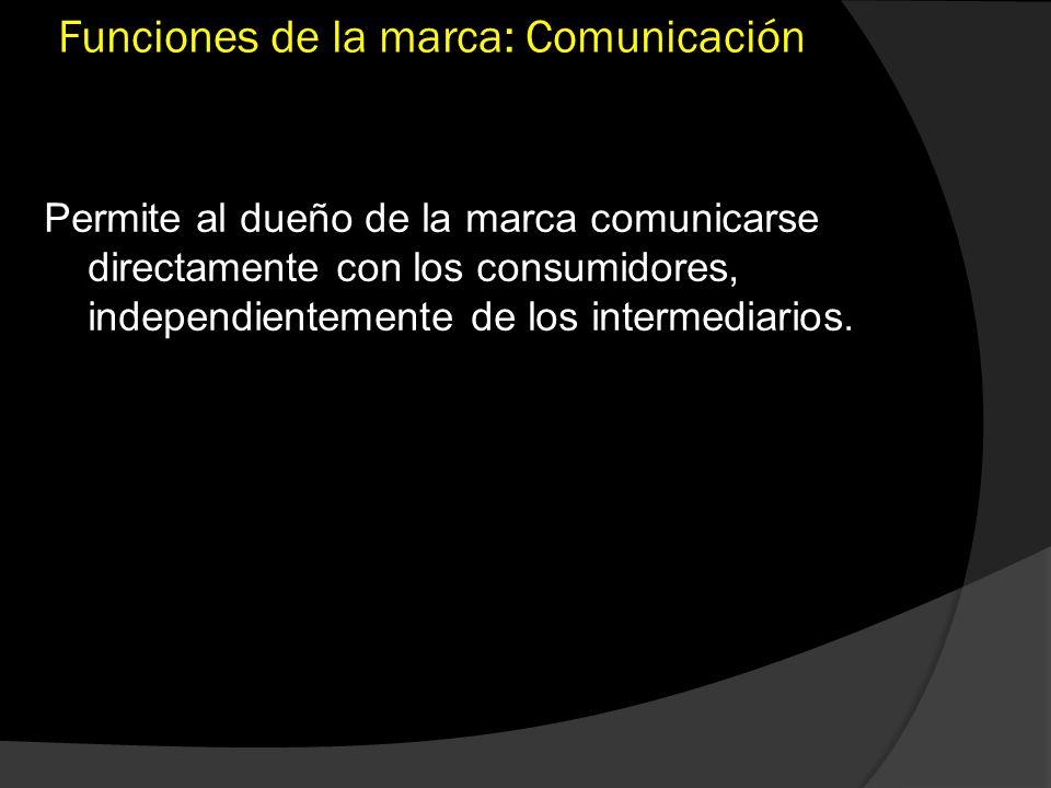 Funciones de la marca: Comunicación Permite al dueño de la marca comunicarse directamente con los consumidores, independientemente de los intermediari