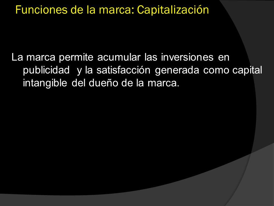 Funciones de la marca: Capitalización La marca permite acumular las inversiones en publicidad y la satisfacción generada como capital intangible del d
