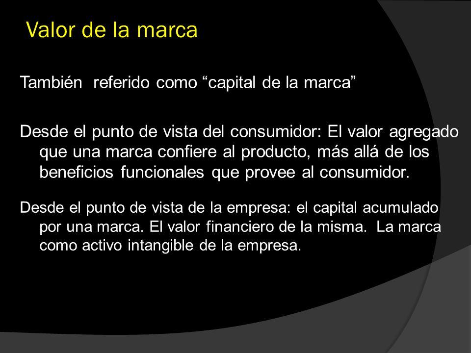 Valor de la marca También referido como capital de la marca Desde el punto de vista del consumidor: El valor agregado que una marca confiere al produc