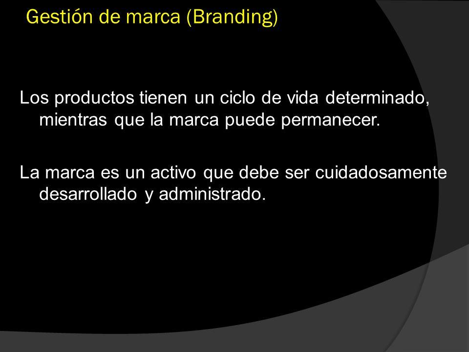 Gestión de marca (Branding) Los productos tienen un ciclo de vida determinado, mientras que la marca puede permanecer. La marca es un activo que debe