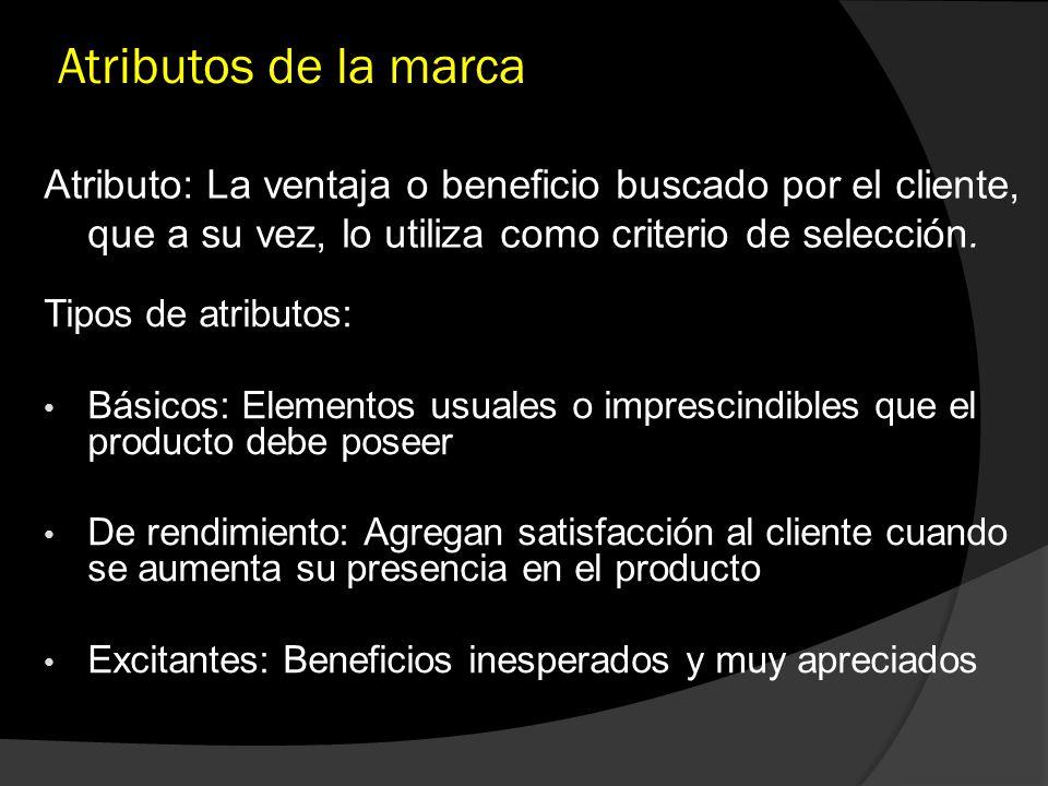 Atributos de la marca Atributo: La ventaja o beneficio buscado por el cliente, que a su vez, lo utiliza como criterio de selección. Tipos de atributos