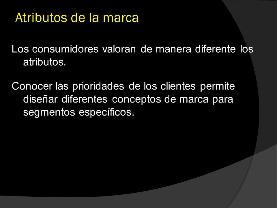 Atributos de la marca Los consumidores valoran de manera diferente los atributos. Conocer las prioridades de los clientes permite diseñar diferentes c