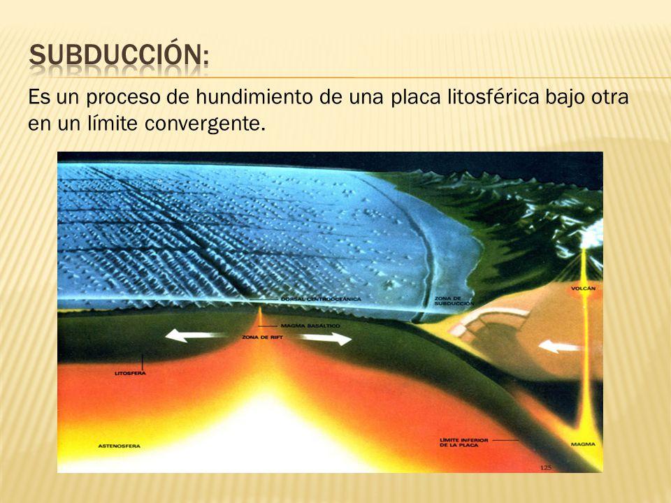 Es un proceso de hundimiento de una placa litosférica bajo otra en un límite convergente.