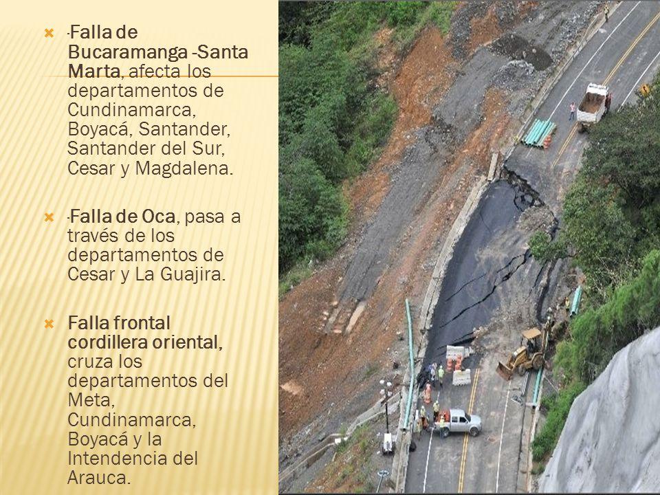 ·Falla de Bucaramanga -Santa Marta, afecta los departamentos de Cundinamarca, Boyacá, Santander, Santander del Sur, Cesar y Magdalena.