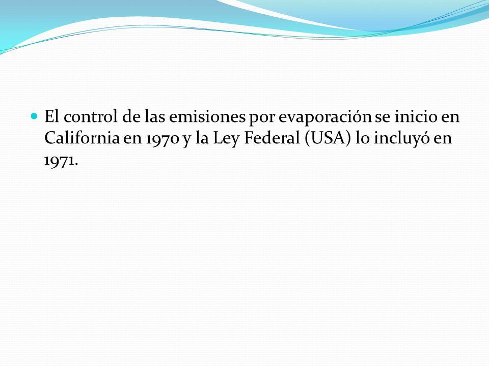 El control de las emisiones por evaporación se inicio en California en 1970 y la Ley Federal (USA) lo incluyó en 1971.