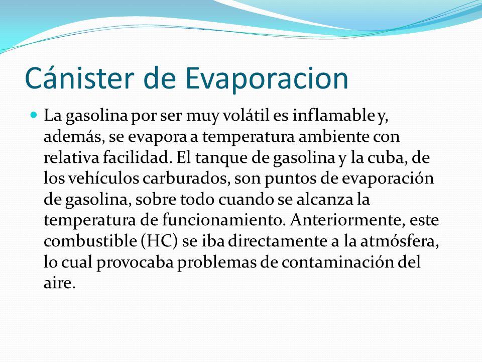 Cánister de Evaporacion La gasolina por ser muy volátil es inflamable y, además, se evapora a temperatura ambiente con relativa facilidad. El tanque d