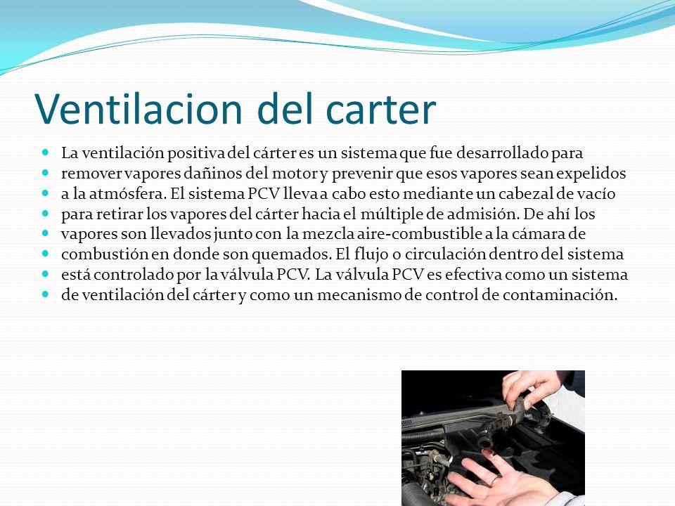 Ventilacion del carter La ventilación positiva del cárter es un sistema que fue desarrollado para remover vapores dañinos del motor y prevenir que esos vapores sean expelidos a la atmósfera.